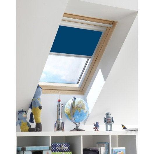 Store fen tre de toit occultant bleu inspire leroy merlin for Store fenetre occultant
