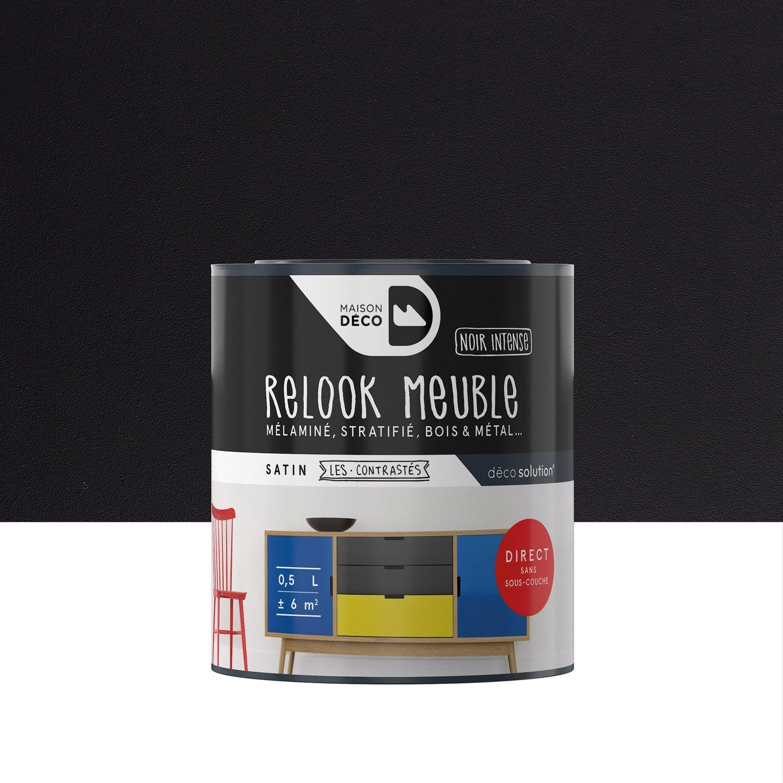 Peinture Pour Meuble Objet Et Porte Satin Maison Deco Noir 0  # Meuble Noir Et Bois