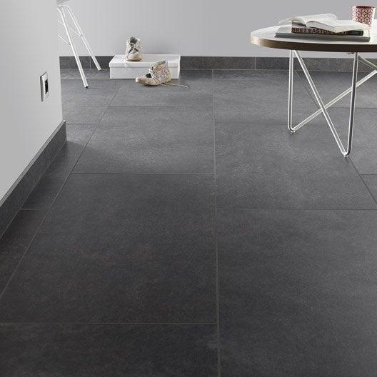 Carrelage sol et mur noir graphite effet pierre Roma l.45 x L.90 ...