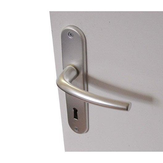 Poign es de porte san diego 38mm trou de cl en aluminium anodis leroy m - Porte interieur point p ...