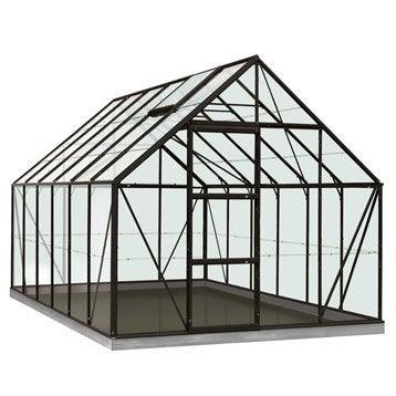 Serre de jardin en verre trempé Rainbow noir, 9.9 m²