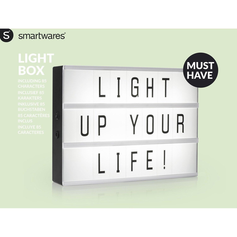 Boite Lumineuse Idee Message objet lumineux, led intégrée a4, plastique blanc, 0.2 w