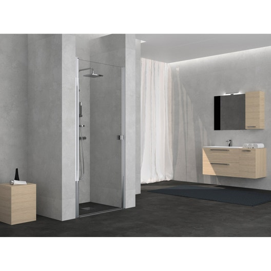porte de douche pivotante 70 cm transparent neo leroy. Black Bedroom Furniture Sets. Home Design Ideas