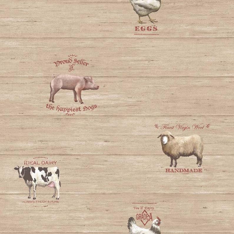 Papier Peint Vinyle Motifs Cuisine Animaux De La Ferme Marron
