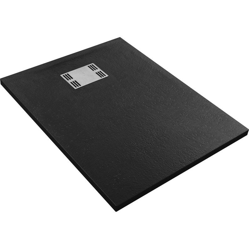 Receveur De Douche Rectangulaire L 100 X L 80 Cm Resine Noir Slate