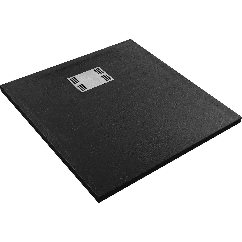 receveur de douche carr x cm r sine noir slate. Black Bedroom Furniture Sets. Home Design Ideas