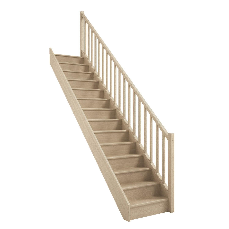 Escalier Droit Sans Rampe dedans escalier soft droit h274 rampe classic à droite structure bois