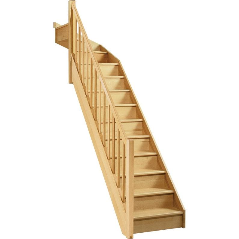 Escalier 1 4 Tournant Haut Gauche Bois Hêtre Soft 13 Marches Hêtre L 279
