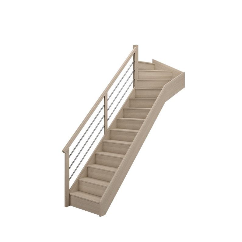 Escalier 1 4 Tournant Haut Gauche Bois Hêtre Soft Tubes 13 Marches Hêtre L 80