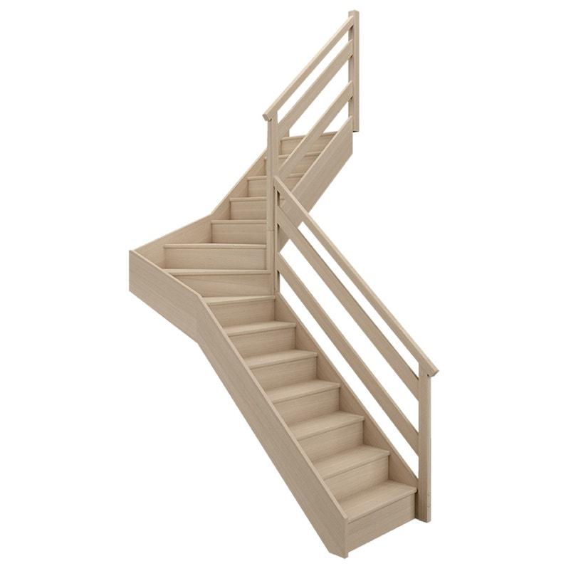 Escalier 14 Tournant Milieu Droit Bois Hêtre Soft Wood 14 Marches Hêtre L80