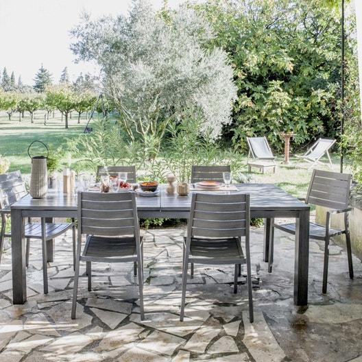 Salon de jardin Antibes NATERIAL gris, 6 personnes | Leroy Merlin