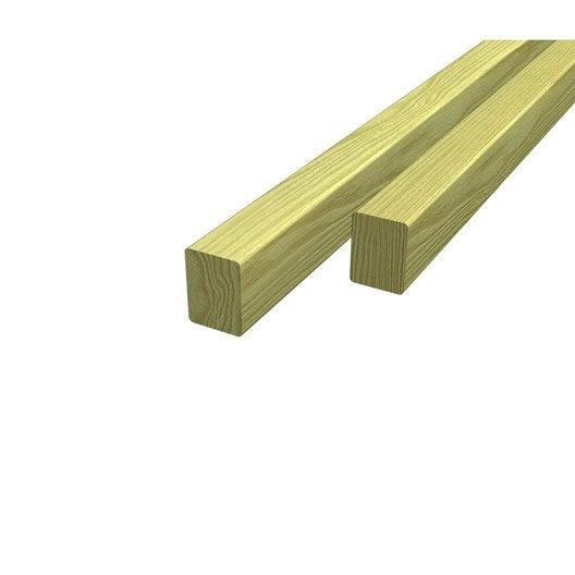 Lambourde pour terrasse bois r sineux vert l 3 m x l 7 5 cm x mm leroy merlin - Lame de terrasse bois classe 4 leroy merlin ...