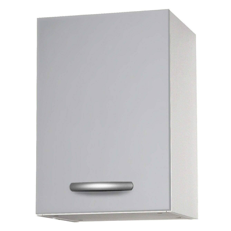 Meuble de cuisine haut 1 porte gris aluminium for Porte aluminium cuisine