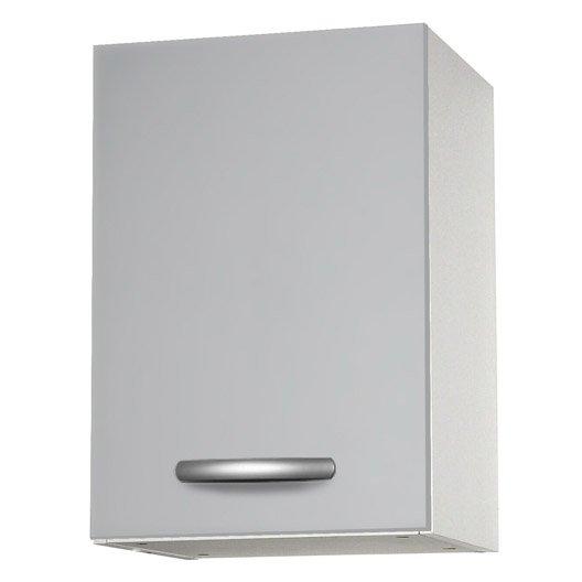 Meuble de cuisine haut 1 porte gris aluminium for Meuble aluminium cuisine