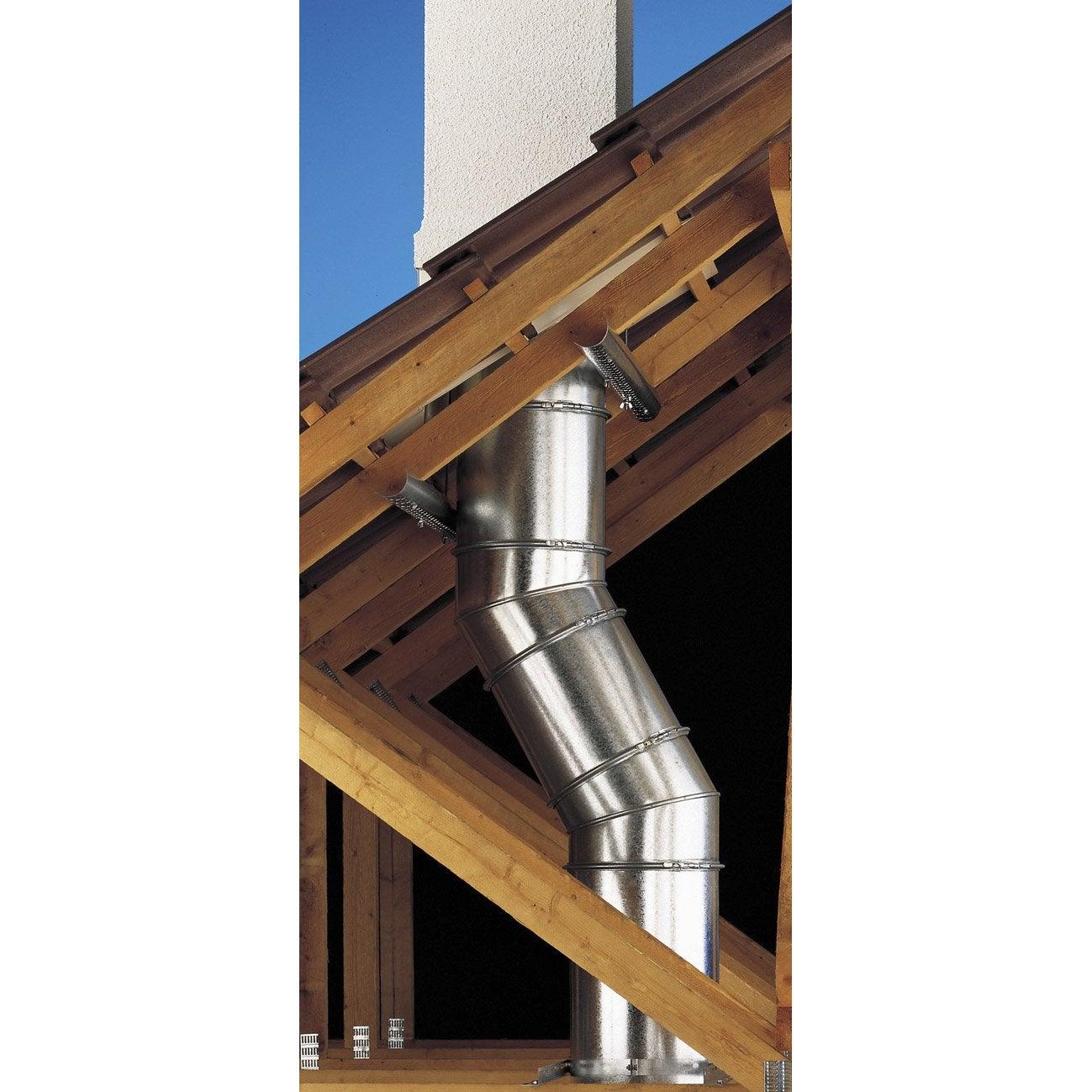 Coude pour conduit double paroi poujoulat d230 mm 45 ep for Conduit de cheminee inox