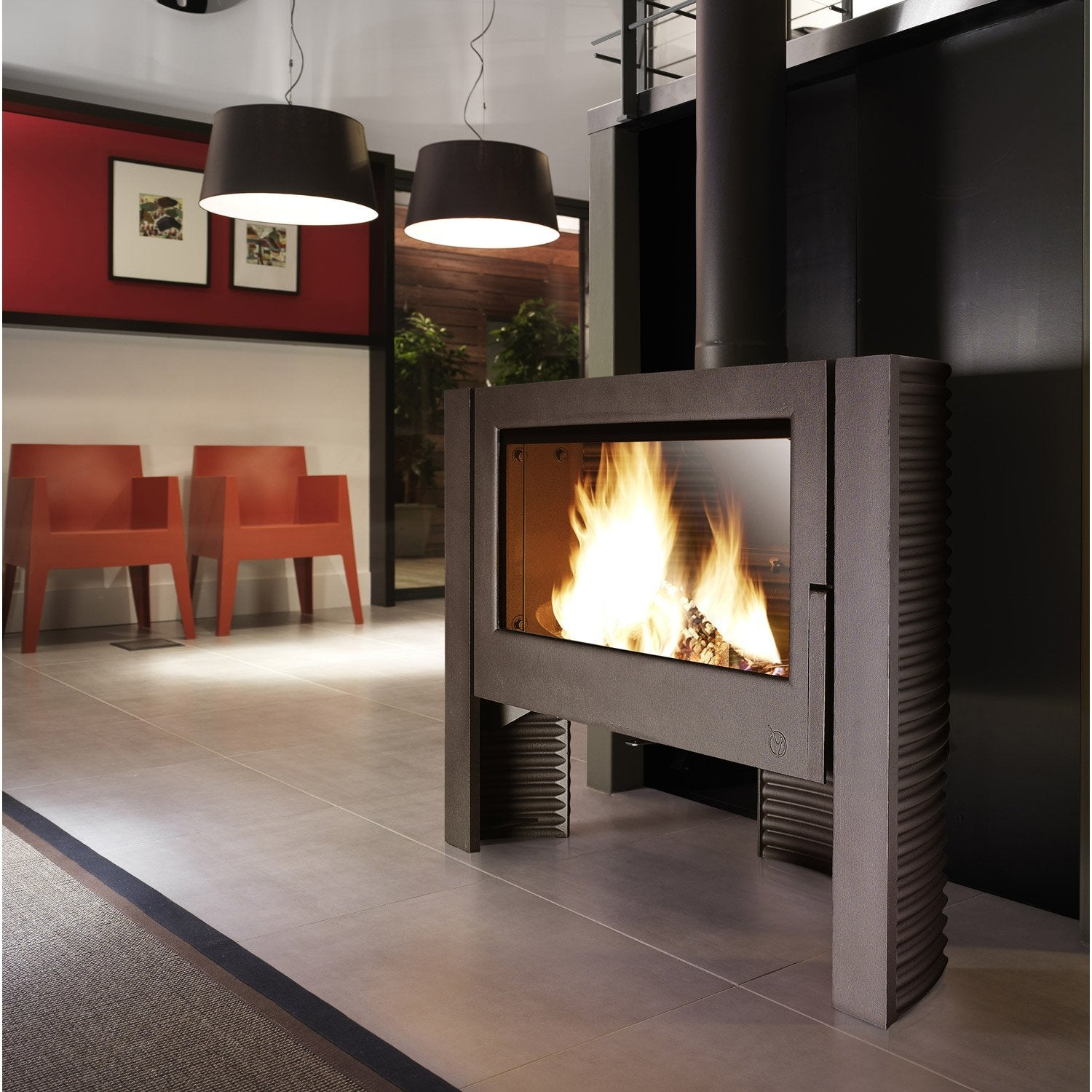 Po Le Bois Invicta Itaya Anthracite 6110 44 12 Kw Leroy Merlin # Amenagement Poele Avec Tv