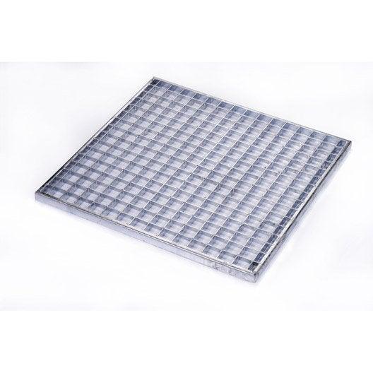 grille caillebotis acier galvanisé l.43 x l.43 cm scover plus