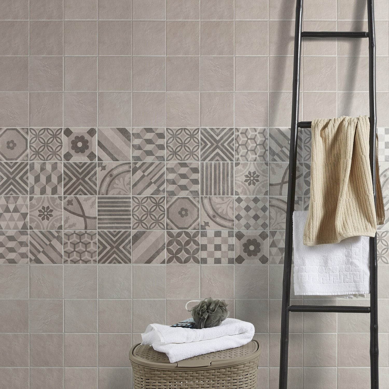 Carrelage Sol Et Mur Blanc Elliot L X L Cm Leroy Merlin - Peinture sol carrelage salle de bain leroy merlin