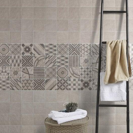 Carrelage sol et mur blanc elliot x cm leroy for Carrelage blanc gris