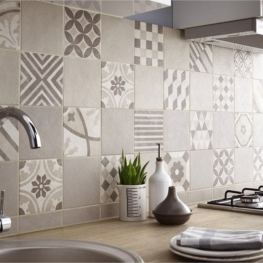Carrelage sol et mur beige elliot x cm leroy for Carrelage sol cuisine point p