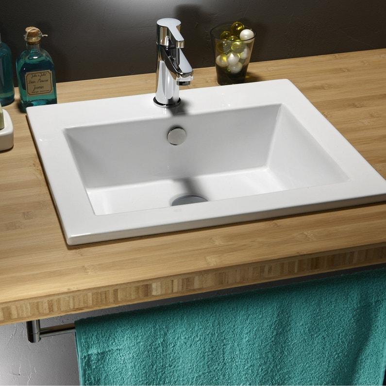 Vasque à encastrer céramique l.50 x P.43 cm blanc Keo | Leroy Merlin
