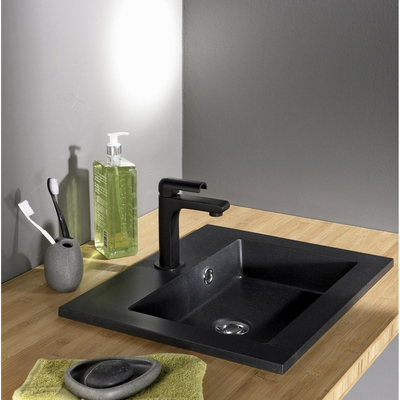 Vasque A Encastrer Resine De Synthese L 50 X P 40 Cm Noir Polly