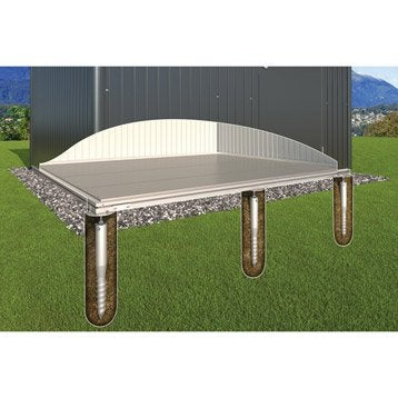 Plancher avec fondations en métal BIOHORT, l.252 x H.6 x P.172 cm