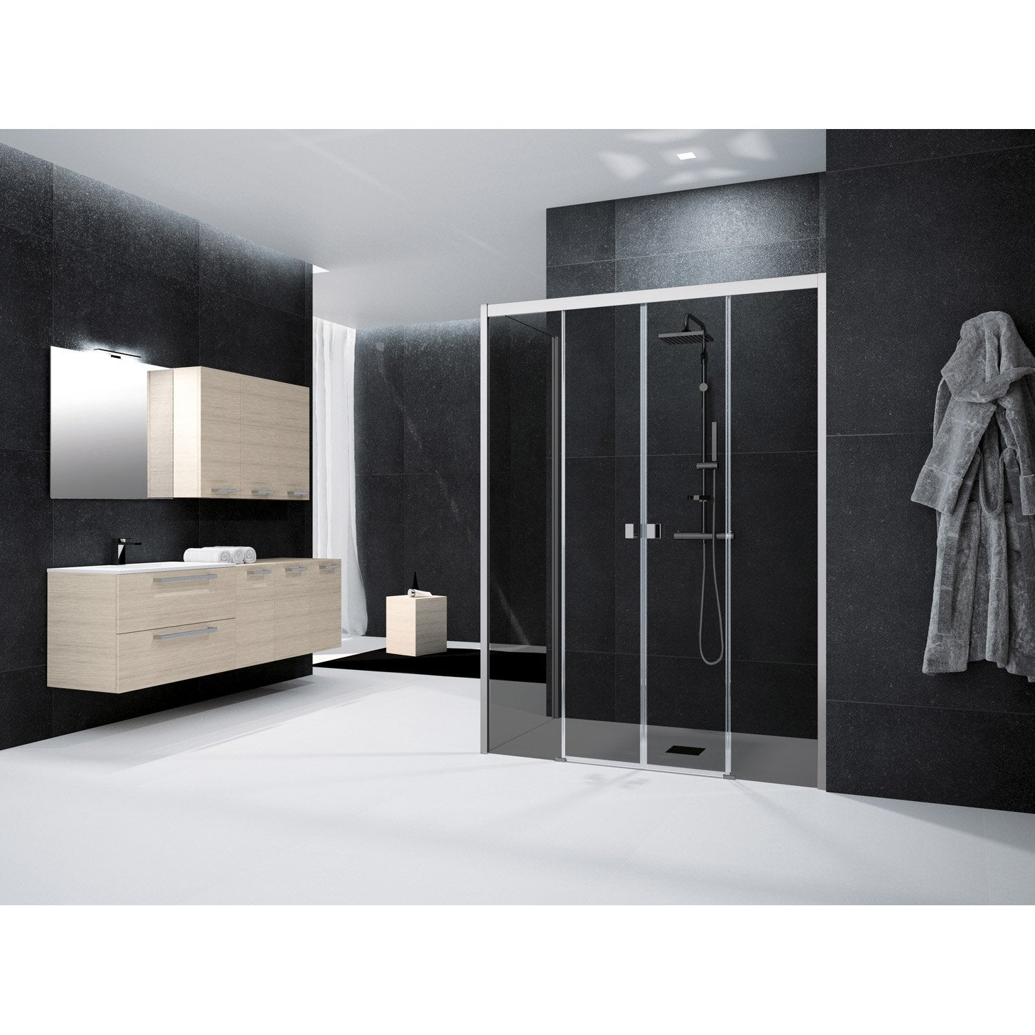 porte de douche coulissante 150 cm fum neo leroy merlin. Black Bedroom Furniture Sets. Home Design Ideas