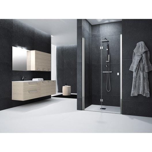 porte de douche pivot pliante 90 cm transparent neo leroy merlin. Black Bedroom Furniture Sets. Home Design Ideas