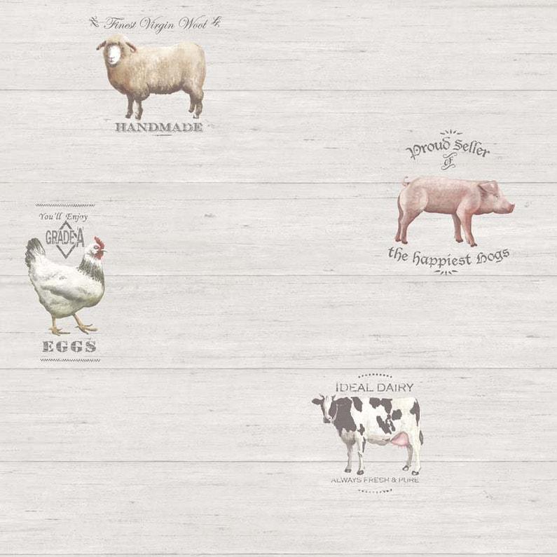 Papier Peint Vinyle Motifs Cuisine Animaux De La Ferme Gris Leroy