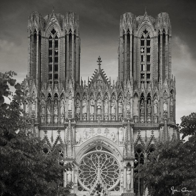 Toile Imprimée Cathédrale De Reims Noir Blanc Artis L65 X H65 Cm