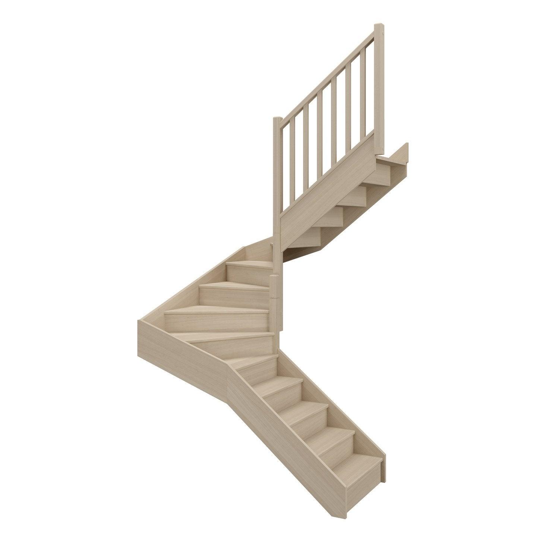 Escalier soft double quart tournant intermédiaire droit h274 rampe ...