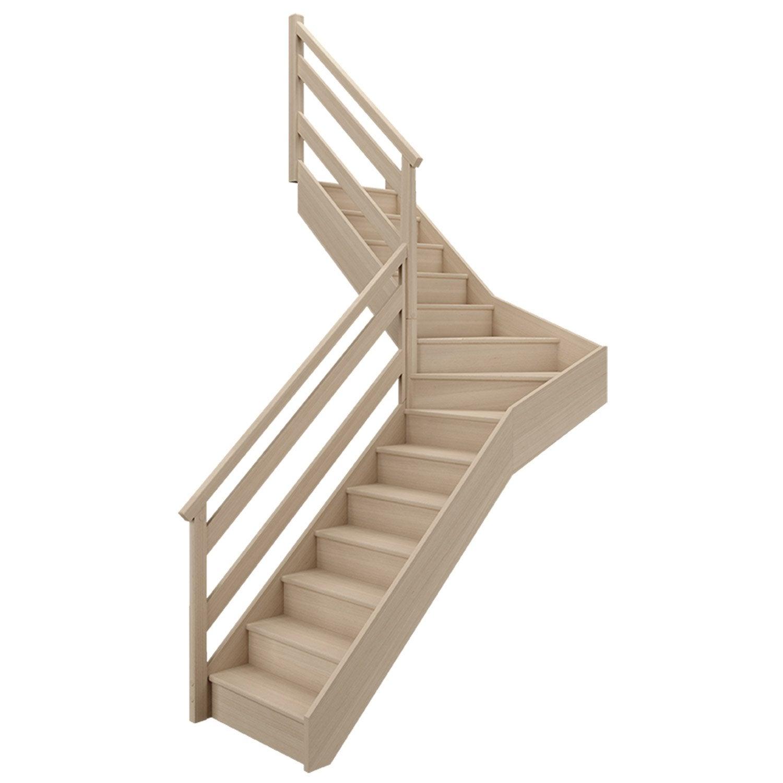 escalier soft quart tournant interm diaire gauche h274 rampe wood bois leroy merlin. Black Bedroom Furniture Sets. Home Design Ideas