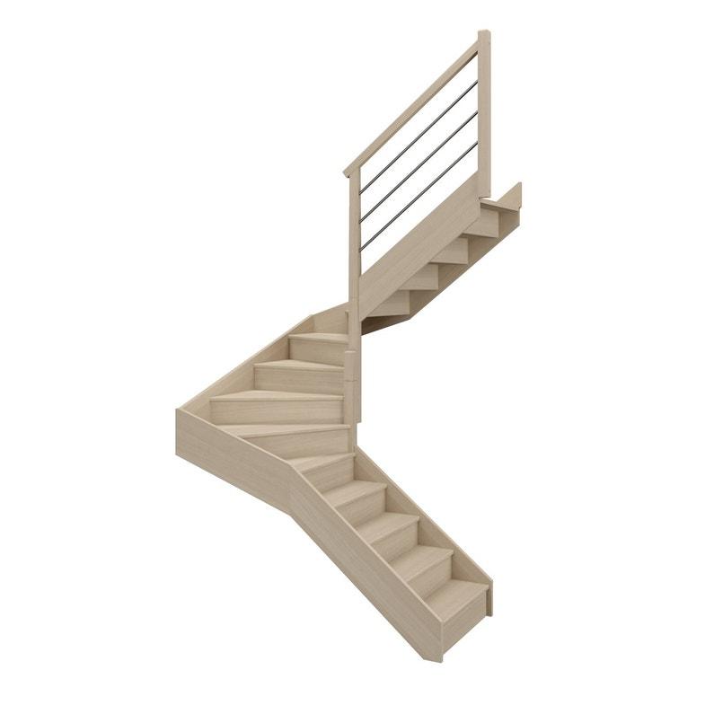 Escalier 2 4 Tournant Milieu Droit Bois Hêtre Soft Tubes 14 Mar Hêtre L 88 1