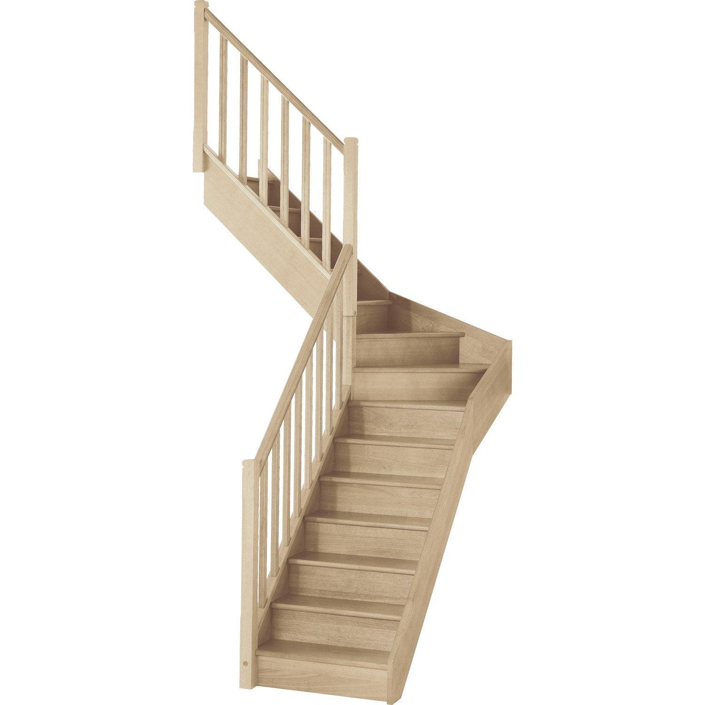 Escalier Soft Quart Tournant Interm Diaire Gauche H274 Rampe  ~ Escalier Bois Quart Tournant Gauche