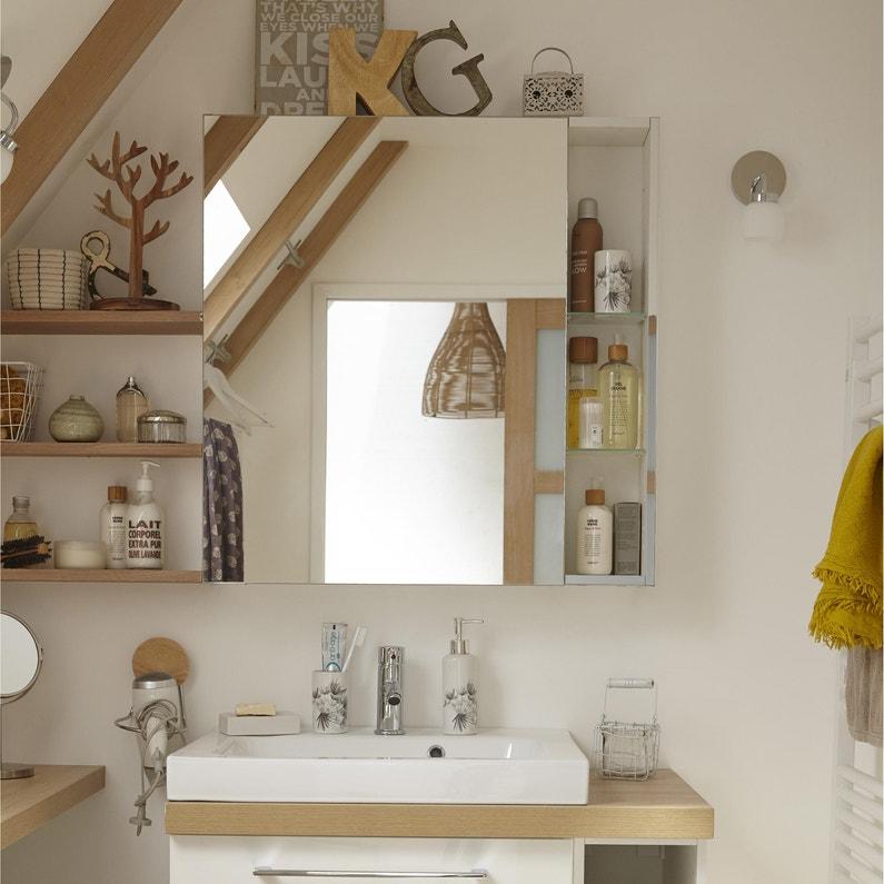 Armoire de toilette, 2P, l.60 x H.75 x P.14cm, , Remix   Leroy Merlin