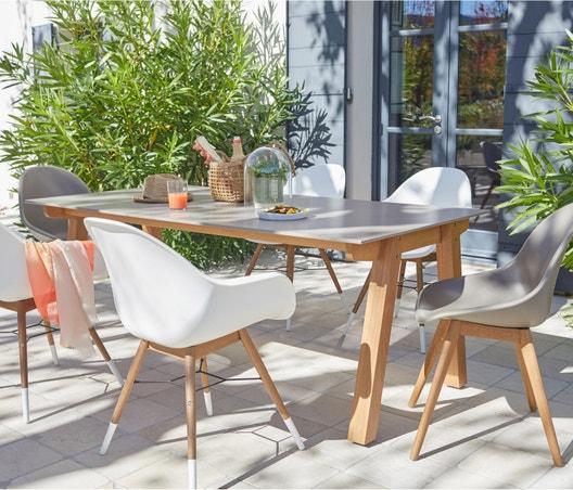 Salon de jardin St tropez aluminium taupe, 6 personnes | Leroy Merlin