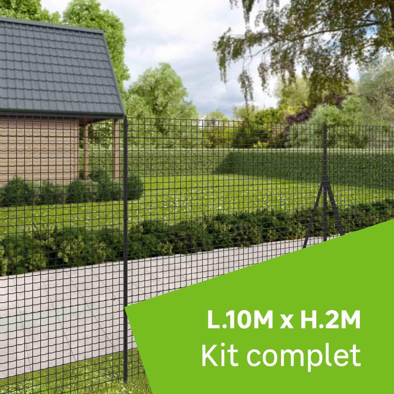 Grillage Jardin Hauteur 2M kit grillage rouleau 10 m à sceller, forte medium gris, h.2 m