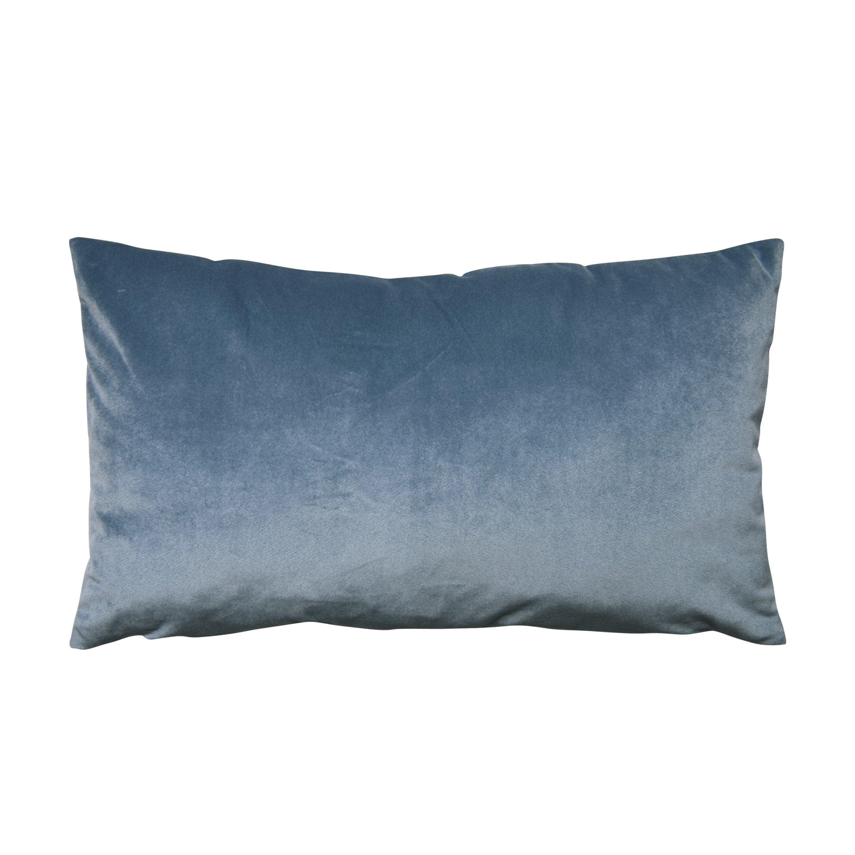 Coussin Dubbo velours INSPIRE, bleu l.50 x H.30 cm