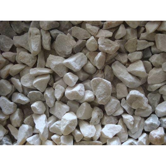 Graviers pierre naturelle blanc Quartz blanc 6/14mm, 25 kg   Leroy ...