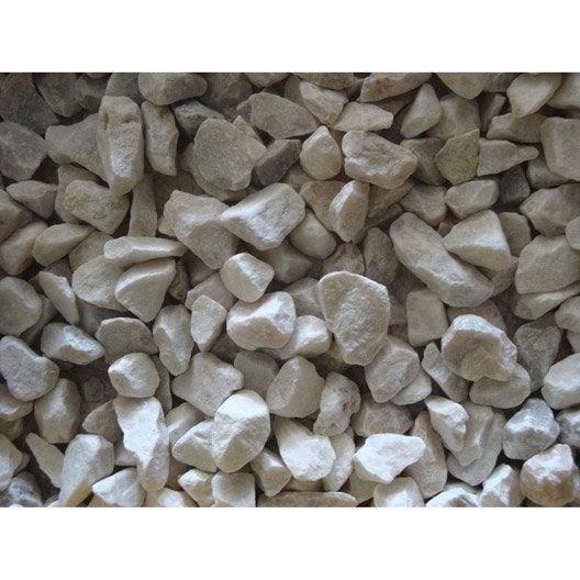 Graviers pierre naturelle blanc quartz blanc 6 14mm 25 kg for Prix gravier en vrac