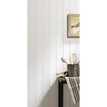 Lambris pin raboté blanc, L.200 x l.10 cm, Ep.10 mm