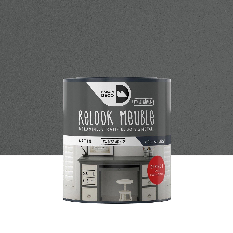 peinture pour meuble objet et porte maison deco relook meuble gris 0 5 l leroy merlin. Black Bedroom Furniture Sets. Home Design Ideas
