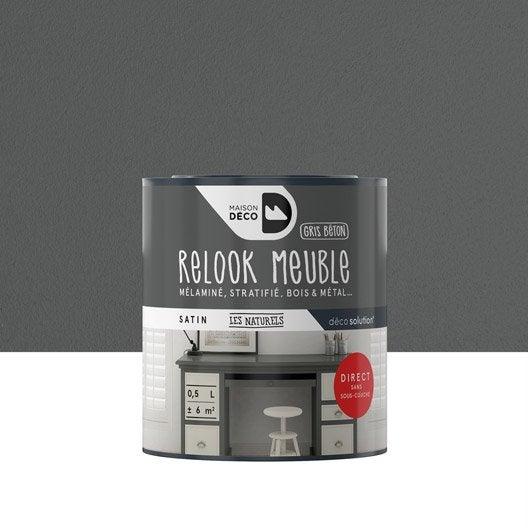 Peinture effet satin maison deco relook meuble gris for Peinture meuble effet metal