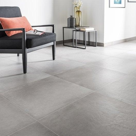 Carrelage sol et mur gris ciment effet b ton time x l for Carrelage 75x75 gris