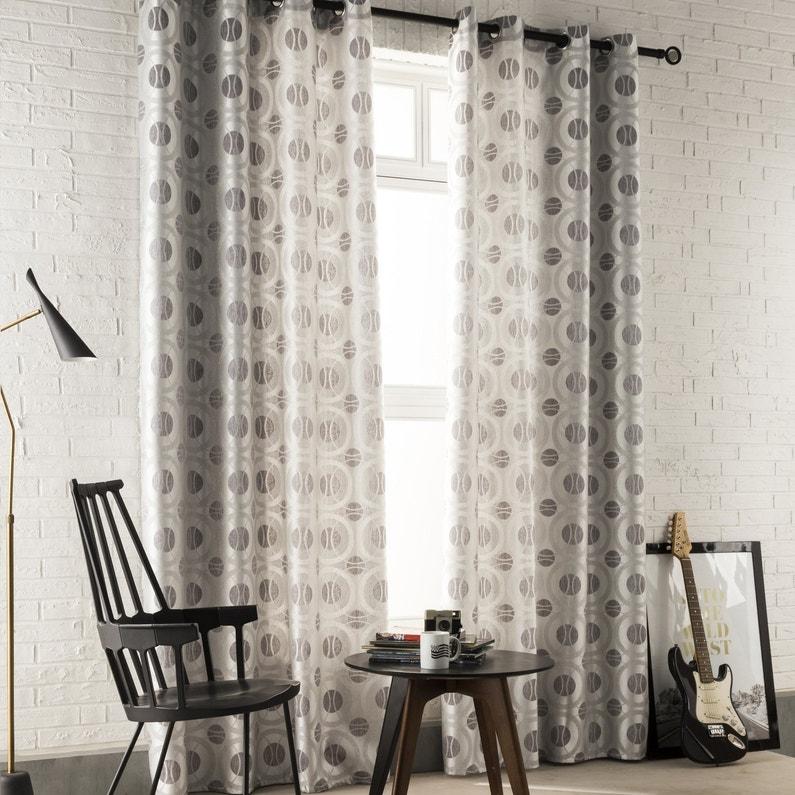 des rideaux gris argent aux motifs g om triques pour un. Black Bedroom Furniture Sets. Home Design Ideas