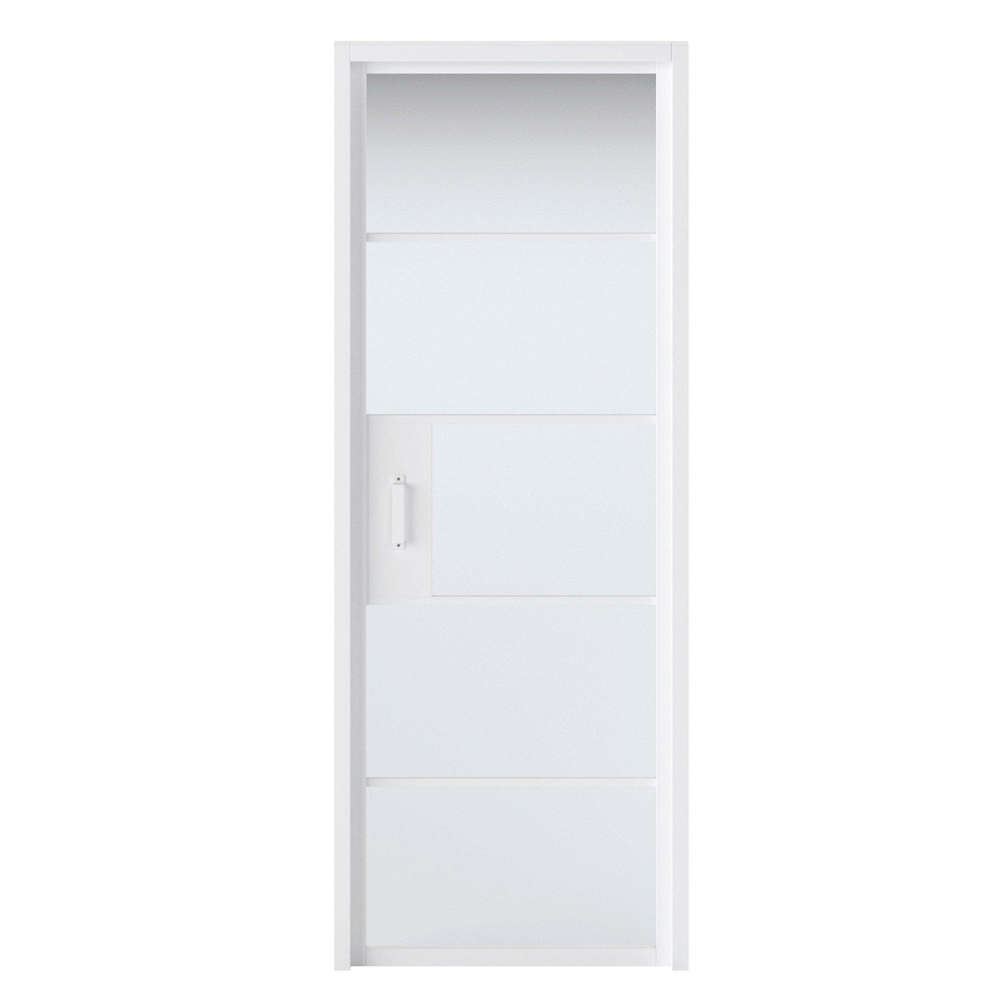 Bloc-porte blanc vitré Chloé, blanc H.204 x l.73 cm, poussant droit