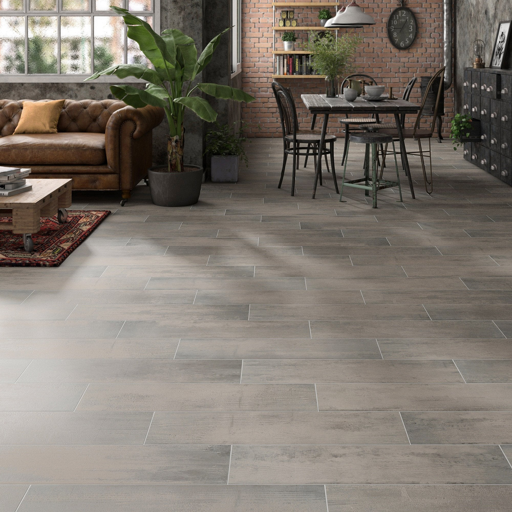Carrelage sol et mur forte effet bois gris anthracite Flow l.20.2 x L.80.2 cm
