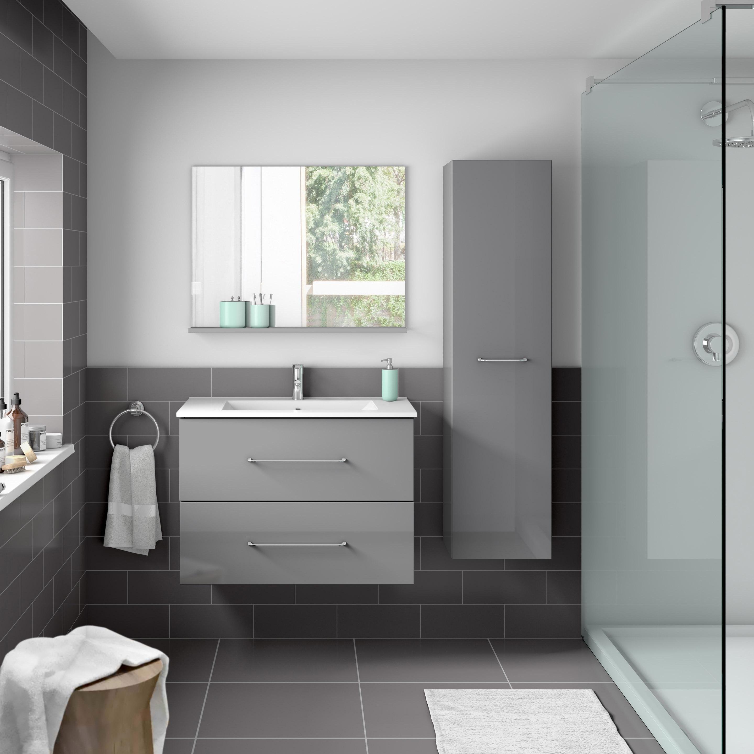 Meuble Haut Salle De Bain Avec Miroir meuble de salle de bains l.69.5 x h.57 x p.45 cm, gris, clik