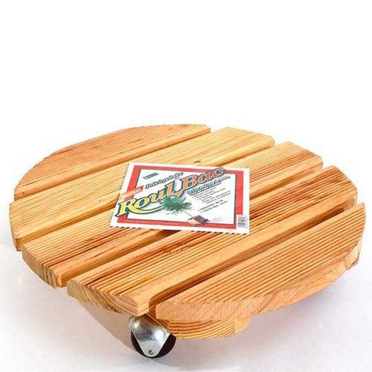 Support pot rond bois leroy merlin - Support a roulettes pour plantes ...